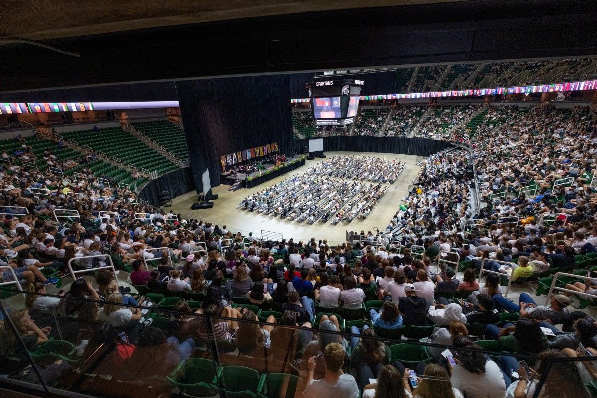 students at convocation at the Breslin Center